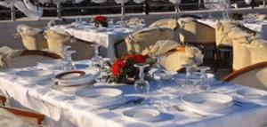 Outdoor restaurant at the Hotel Sabri