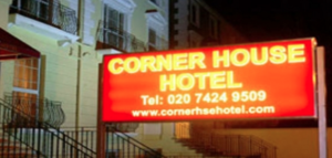 Outside Corner House Hotel in London NW1